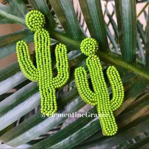 Jewelry - 2 for $30 NWT Beaded Cactus Earrings Green